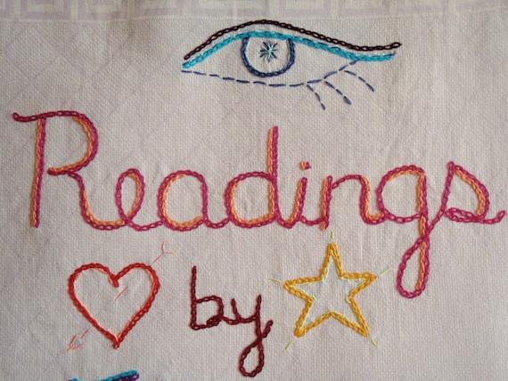 Psychic Reading, Modern tapestry, Hand embroidered, Original art, Boho wall art