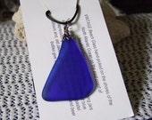 Cobalt Blue Tumbled Vintage Beach Sea Glass Pendant Necklace Newfoundland