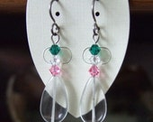 Republic of Newfoundland Earrings Earings Pink White Green Swarovski Crystals with Clear Quartz Titanium Earwires Show Your Colours