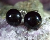 Black Onyx 10mm Stud Earrings Titanium Post and Clutch Hypo Allergenic Handmade in Newfoundland Chalcedony
