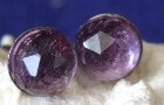 Sparkly Clear Purple 6mm Rose Cuts Faceted Amethyst Stud Post  Earrings Titanium Hypo Allergenic February Birthstone