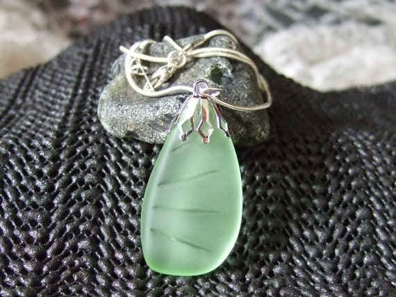 Newfoundland Vintage Tumbled Minty Green Beach Sea Glass Pendant Necklace Beach Findz Patterned