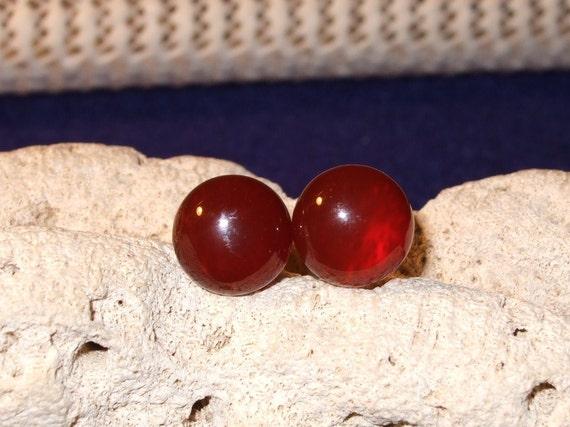 Carnelian Reddish Orange Colour Stud Post Earrings Earings 10mm Round Titanium Ear Wires Hypo Allergenic Handmade in Newfoundland Energizes