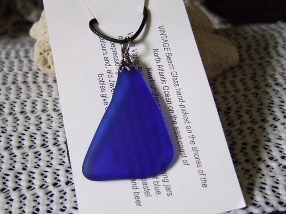 Cobalt Blue Tumbled Vintage Beach Sea Glass Pendant Necklace Newfoundland