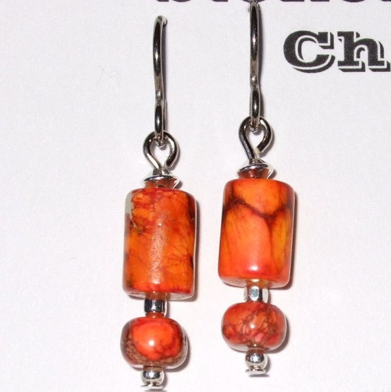 Bright Orange Variscite with Sterling Silver Dangle Earrings Titanium Ear Wires Hypo Allergenic Made in Newfoundland Relaxation