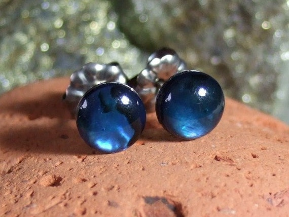 6mm Blue Paua Shell Stud Earrings Titanium Posts and Clutches Handmade in Newfoundland Round Deep Blue Hypo Allergenic