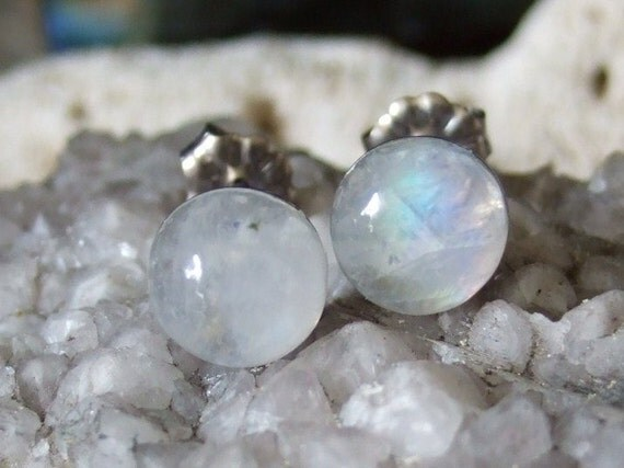 Rainbow Moonstone Blue Tint 8mm Stud Earrings Titanium Post and Clutch Hypo Allergenic Handmade in Newfoundland Icy Cool