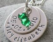 BIRTH - - personalize with child's name and birthdate, mommy necklace, hand stamped jewelry