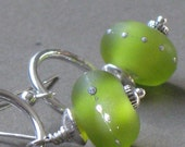 SALE  - Fresh Grass - earrings made with Italian glass lampwork beads and fine silver