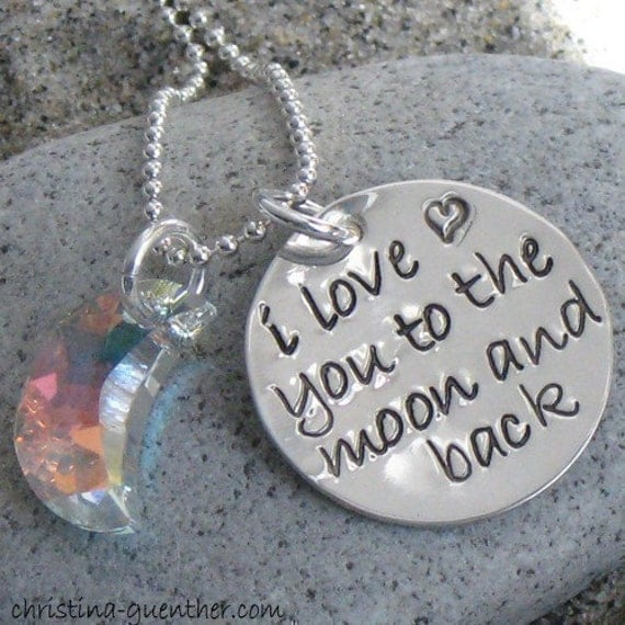 the.MOON.and.BACK - hand stamped sterling necklace