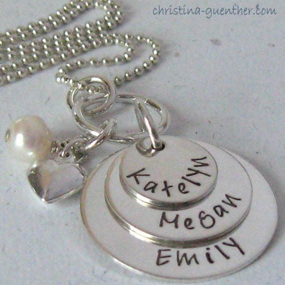 BLISS - personalized hand stamped sterling mommy necklace