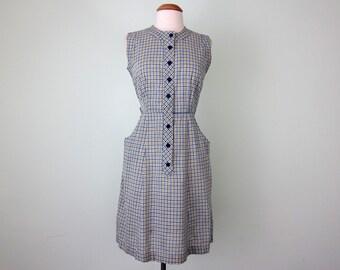 60s dress / plaid cotton fitted sundress (m - l)