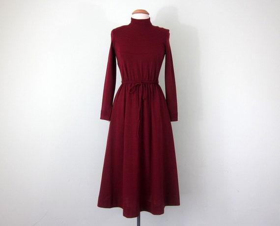 70s merlot wool dress (xs - s)