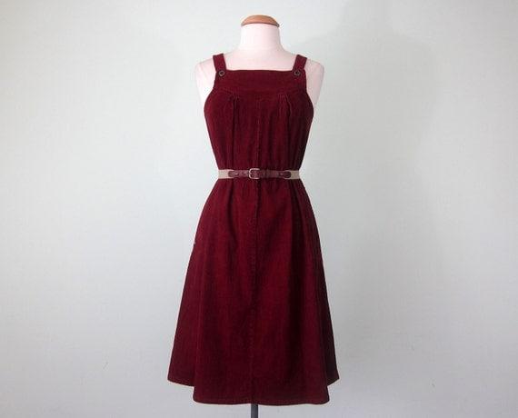 70s ruby corduroy jumper (xs - s)
