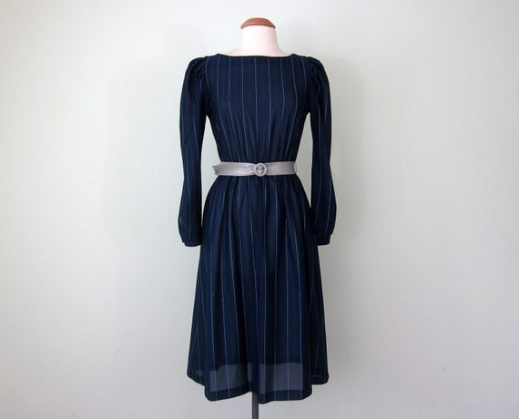 70s navy pinstripe dress (s - m)
