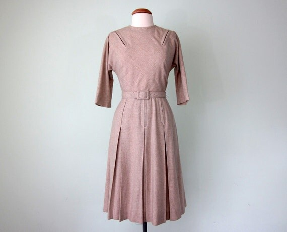 50s oatmeal wool belted dress (s - m)