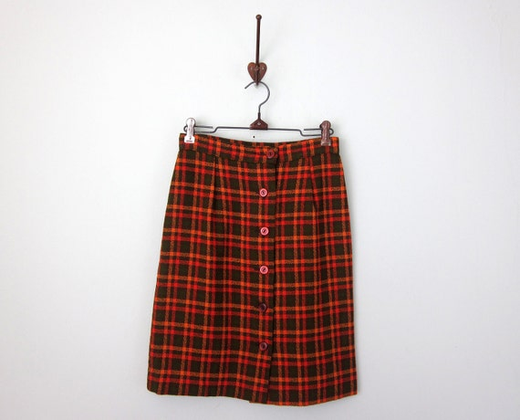 60s skirt / fitted plaid mini (xs - s)