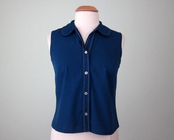 60s blouse / navy round collar sleeveless top (s - m)