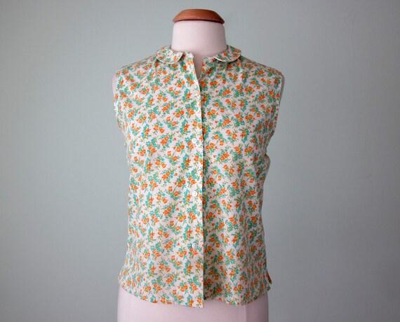 60s blouse / floral sleeveless cotton shirt top (m - l)