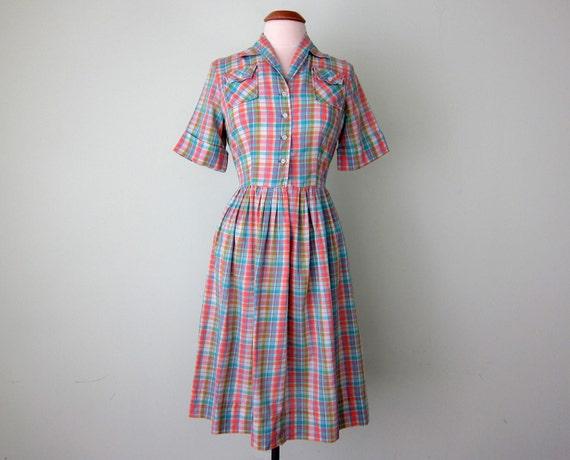 60s dress / pastel plaid cotton pleated (s - m)