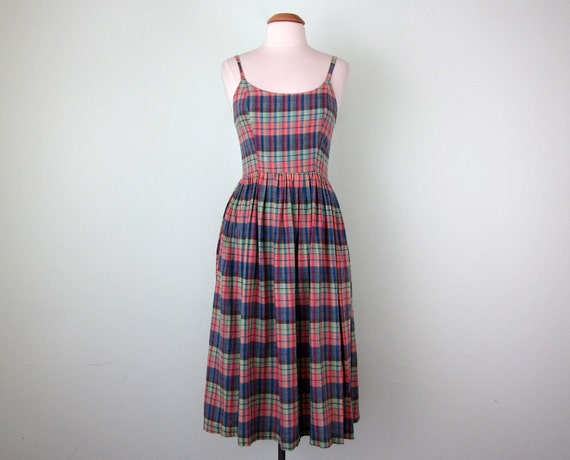 80s dress / cotton madras plaid scoop back sundress (s - m)
