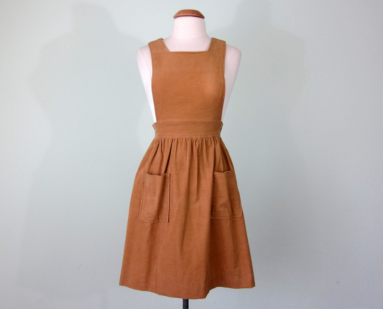 70s Corduroy Jumper Dress Xs S