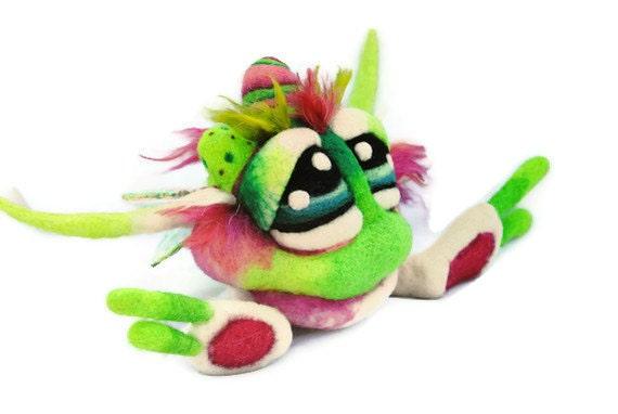 OOAK Original Watermelon Apple Berry Cupcake Goblin Needle Felted Soft Sculpture Wool Fantasy Art Doll Made to order