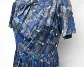 50s Geometric TONI TODD Day Dress size Medium Cobalt Blue Gray