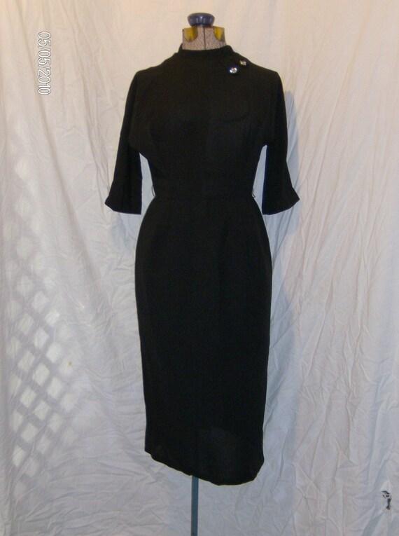 Oh My Black Smokin Hot 50s - 60s  Jet Black Crepe Wiggle Dress Madmen Rhinestone Neck size Medium