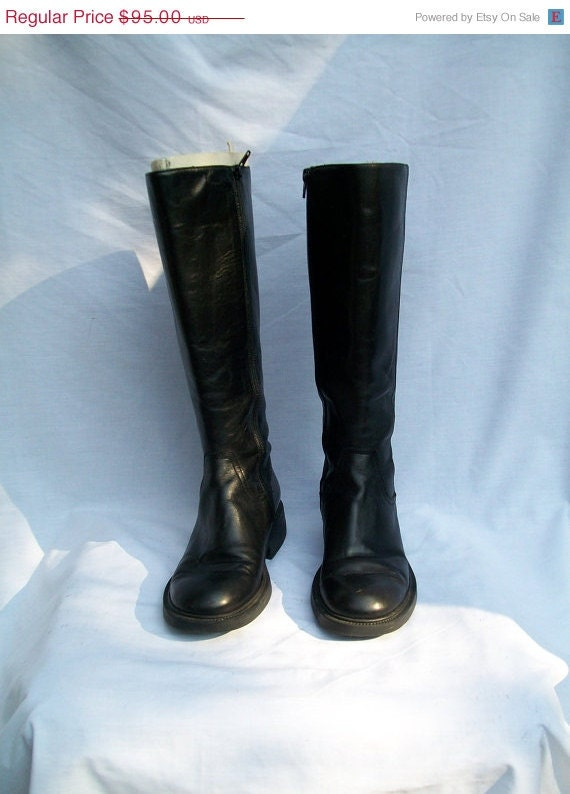 Sale Gorgeous Black Leather Riding Boots J CREW Size 6 to 7  ITALY