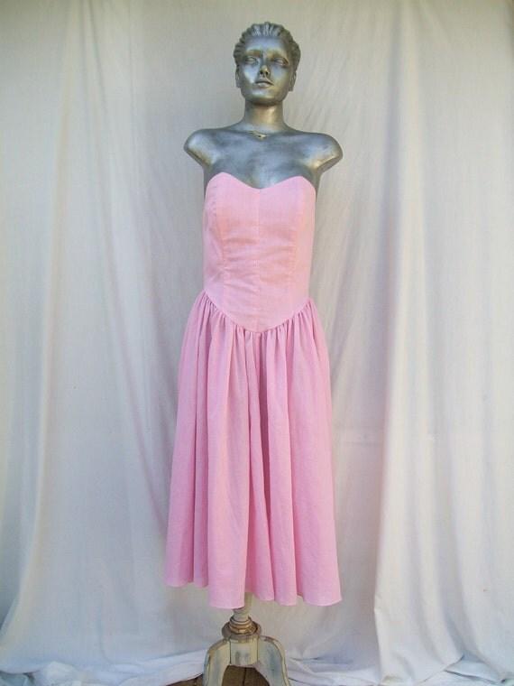 Sexy Soft Pink Gingham Strapless Sundress Bustier JODI SCHWARTZ Size Small to Medium