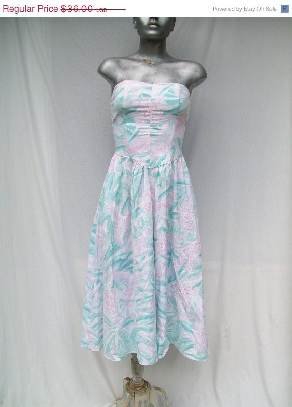 40% off Sale 80s Bustier Sundress Size Extra Small to Small JONI BLAIR Birds and Flowers