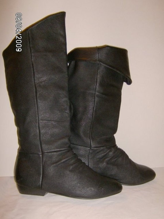 eighties black leather pirate boots with fold cuff