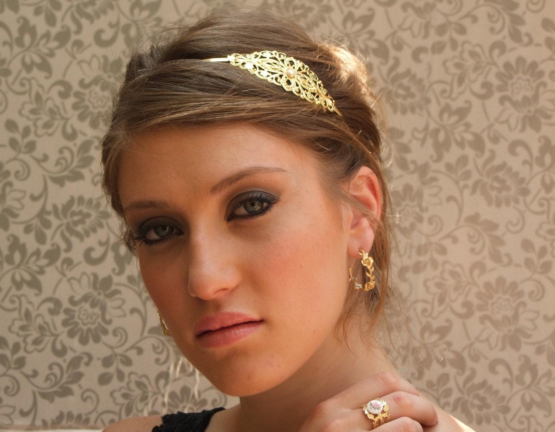 Paris.gold hair accessories gold headband Bridal by YaelSteinberg