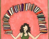"daily illustration // ""outgrowing my bookshelves again"""