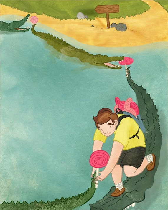 "illustration: ""my father's dragon"" lollipop-crocodile bridge"