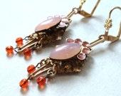 Earrings, Vintage Inspired, Pink, Orange, Hyacinth, Gold, Filigree