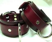 Handmade Oxblood Leather Bondage Cuffs Nickel Plated D Rings Handmade Adult BDSM