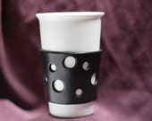 Handmade Black Leather Coffee Cozy Coffee Accessory with Artsy Holes.