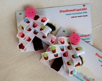 Cupcake Christmas Tree Ribbon Hairclips- Ready to Ship!