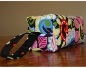 fun LARGE BOXY POUCH for toiletries, school supplies, cosmetics, travel... Michael Miller Garden Collage, Cocoa