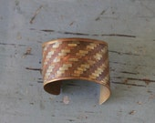 vintage PARQUETRY brass and copper CUFF bracelet / statement cuff