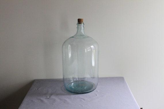 Vintage Large Blue Glass Carboy Bottle