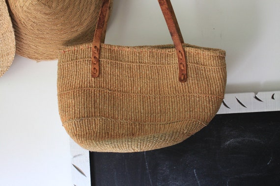 vintage Large woven Leather and Sisal Market Bag