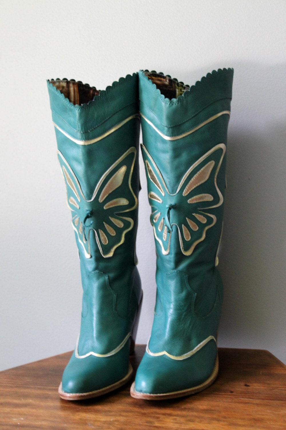 Vintage Butterfly Boots Teal Blue Leather By Scottieinacanoe