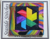 Quilt Block Lapel Pin, Color Wheel, Black and Brights