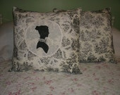 Black Rustic Life Toile Pillows with a stitched Vintage Doily