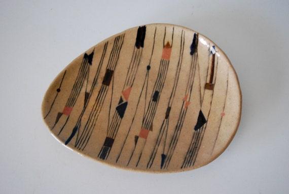 Modernist Geometric Studio Pottery Plate