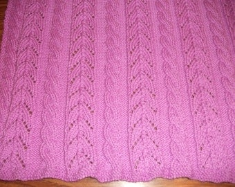 Violet Cables and Lace Baby Blanket