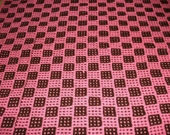Pink and Brown Chessboard Baby Blanket